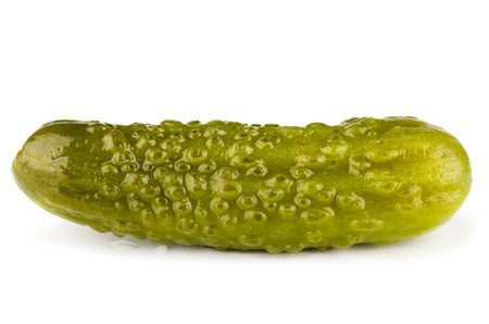 Small pickled green cucumbers isolated on white