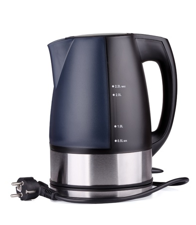 Black plastic electric kettle isolated on white Stock Photo - 14176067