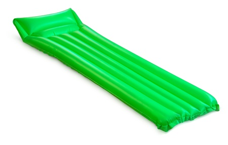 raft: Green floating pool raft isolated on white