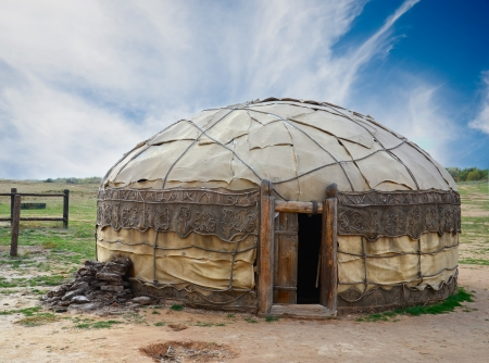 non urban scene: Traditional mongolian yurt made of animal skins