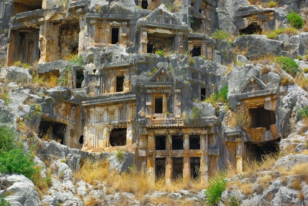 crypt: Rock-cut tombs in ancient town Myra  Turkey  Stock Photo