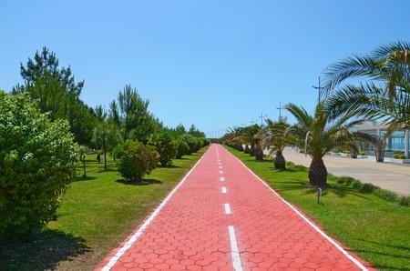 jogging track: Running track in waterfront park, Batumi city Stock Photo