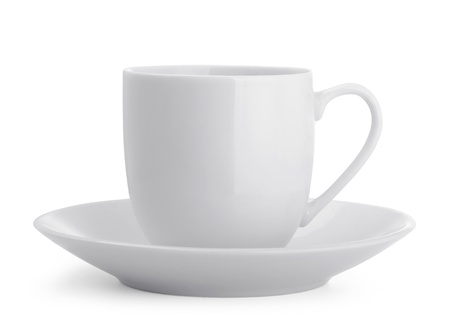 Small white coffee cup isolated on white Stock Photo - 14283973