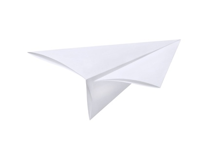 paper fold: Paper airplane isolated on white Stock Photo