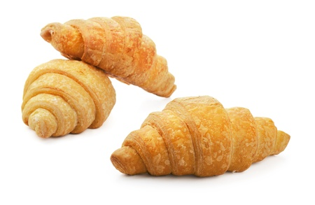 Three fresh croissants isolated on white Stock Photo - 14355826