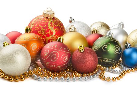 Christmas colorful decoration baubles and beads isolated on white photo