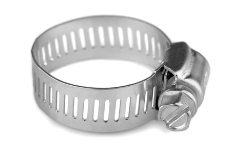 collet: New metal hose clamp isolated on white