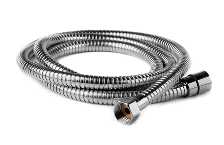 hoses:  Steel water shower flexible hose isolated on white