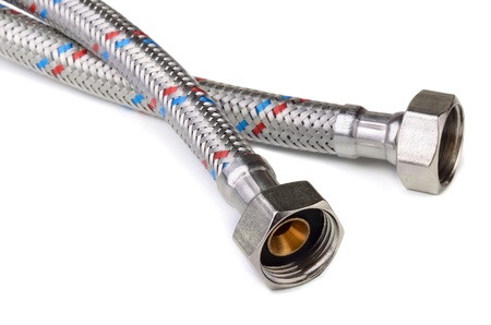 braided flexible: Braided flexible water hose on white background