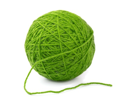 clew: Green wool yarn ball isolated on white