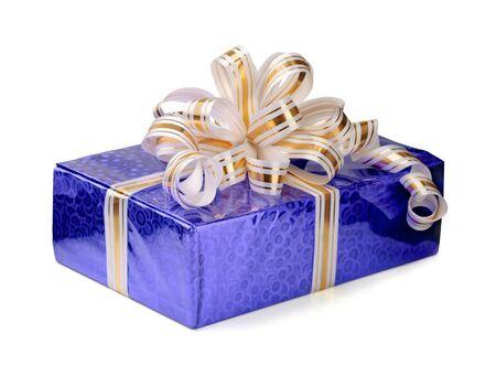 Shiny gift box with ribbon isolated on white photo