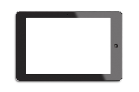 Generic tablet PC with white screen isolated on white