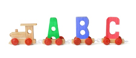 Wooden toy ABC train isolated on white Stock Photo - 14960899