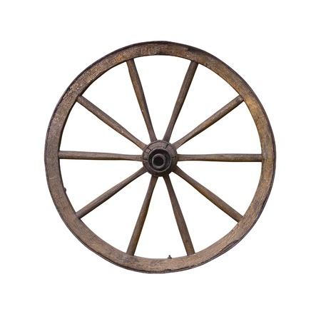 Old wooden wagon wheel on white photo
