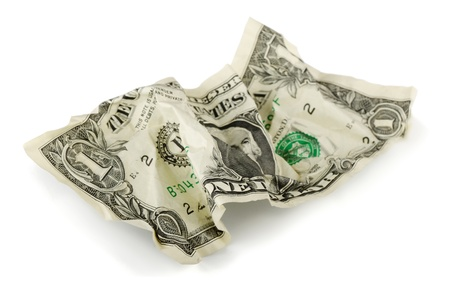one dollar bill: Crumpled one US dollar bill isolated on white Stock Photo