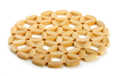 trivet: Round bamboo trivet isolated on white