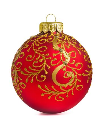 Red christmas decoration ball isolated on white photo