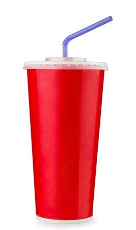 gaseosas: Taza roja de papel desechable aislados en blanco Foto de archivo