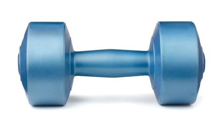 Single blue dumbbell isolated on white photo