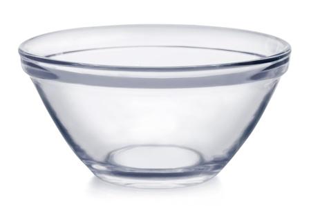 material de vidrio: Tazón galss vacío aislado en blanco Foto de archivo