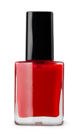 Red nail polish bottle isolated on white photo