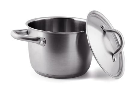 steel pan: Abra olla de cocci�n en acero inoxidable aislado en blanco
