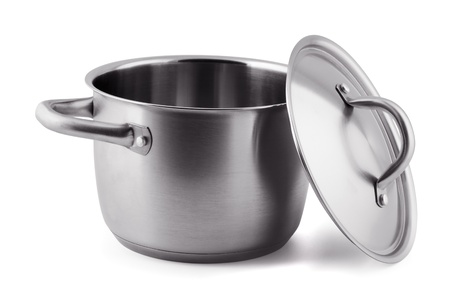 pans: Open stainless steel cooking pot isolated on white Stock Photo