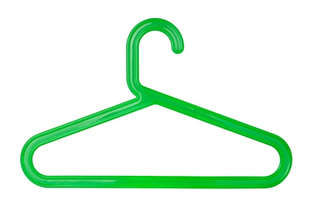 Green plastic clothes hanger isolated on white Stock Photo - 15286296