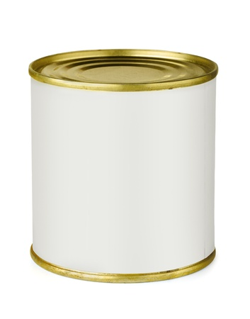 Tin can with blank white label isolated on white photo