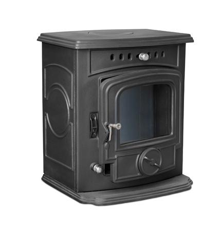 New cast iron wood stove isolated on white Stock Photo - 15437656