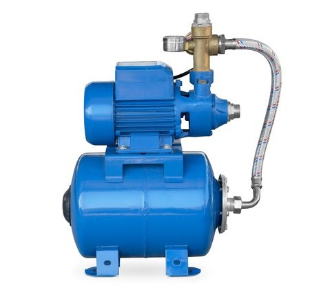 Blue electric high pressure water pump isolated on white photo