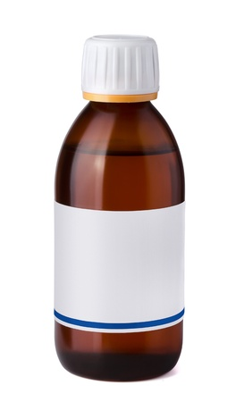 cough medicine: Medicine bottle with blank label isolated on white