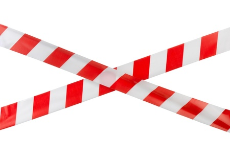cordon: Crossed red white warning tape isolated on white