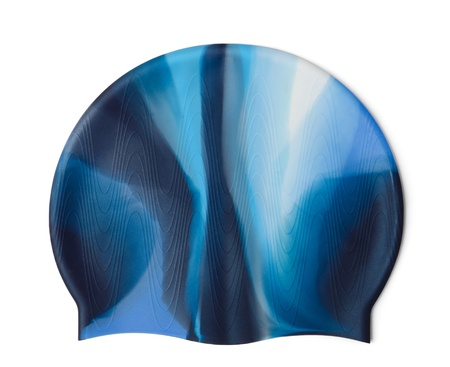 silicone: Blue silicone swim cap isolated on white