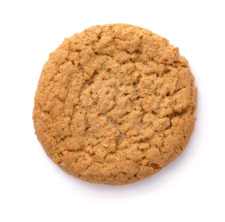 baking cookies: Biscotto di farina d'avena isolato su bianco. Vista dall'alto.