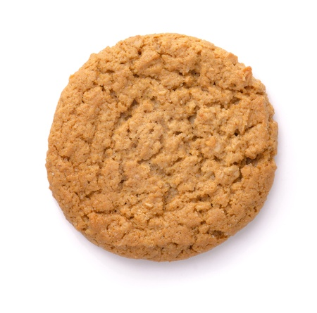 Havermout cookie geà ¯ soleerd op wit. Bovenaanzicht. Stockfoto