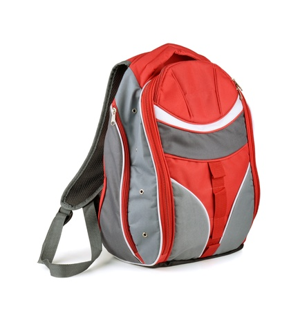Red and gray backpack isolated on white photo