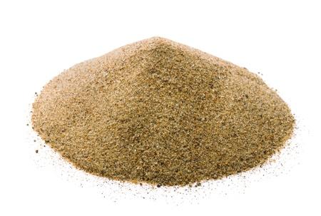 Stapel van droog zand op wit wordt geïsoleerd Stockfoto