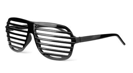 Black plastic shutter shades slatted sunglasses isolated on white Stock Photo - 15977779