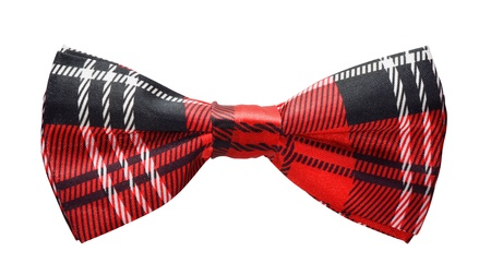 silk tie: Red black plaid bow tie isolated on white