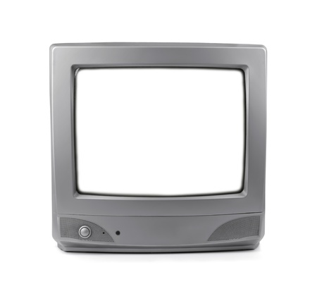 Old CRT TV with white screen isolated on white Stock Photo - 15977783