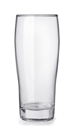 Empty beer glass isolated on white photo
