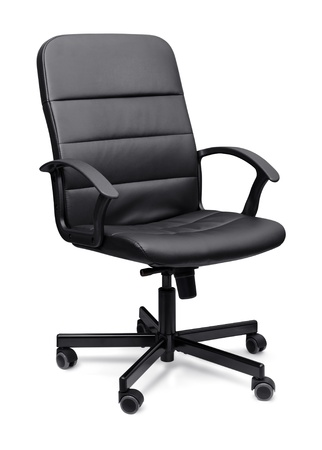 office equipment: Black leather office chair isolated on whit