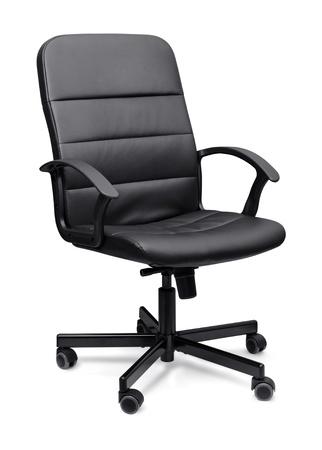 silla: Cuero negro silla de oficina aislado en la pizca Foto de archivo