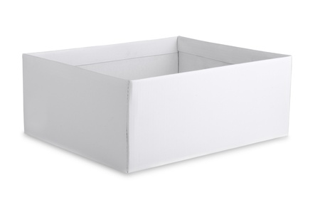 Open cardboard white box isolated on white photo