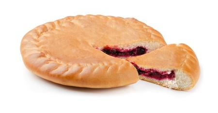 Fresh sweet homemade cherry pie isolated on white Stock Photo - 16654973