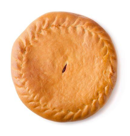 Whole homemade fruit pie isolated on white Stock Photo - 16877192