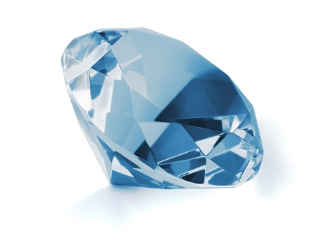 Blue diamond isolated on whit photo