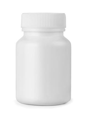 botellas vacias: Botella de plástico blanco medicina aislados en blanco