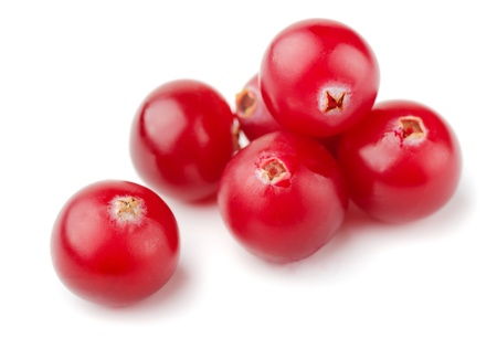 Group of resh cranberries isolated on white photo